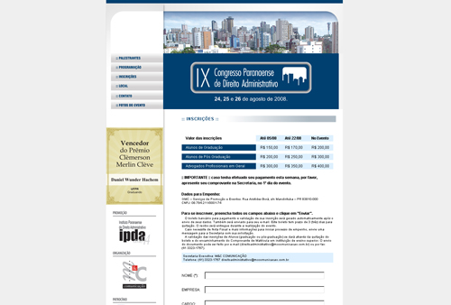 Site Congresso Paranaense de Direito Administrativo