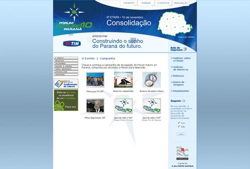 Site Fórum Futuro 10 Paraná
